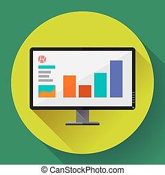 largo, monitor computador, tela plana, exposição, presentation., desenho, icon., style.