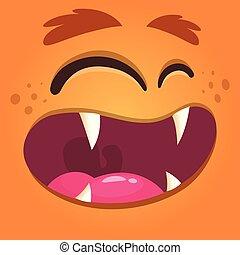 largo, mostro, face., halloween, vettore, avatar, arancia, sorriso, cartone animato, fresco