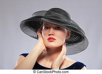 largo, mulher, pretas, malha, chapéu