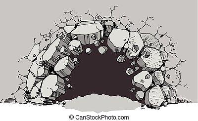 largo, nível, parede, quebrando, buraco, chão