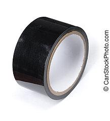 largo, nastro adesivo, rotolo, nero