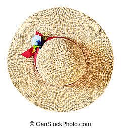 largo, paglia, cima, isolato, orlo, cappello bianco, vista