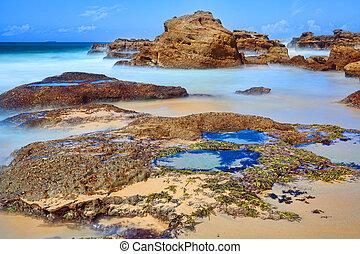 largo, rocas, marea, bajo, roca, piscinas, exposición