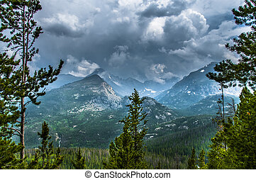 largo, rockies, tormenta, mitad, pico, thattop, montaña, ...