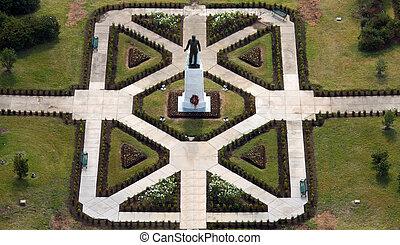 largo, sitio, grounds., p, estado, gobernador, estatua,...