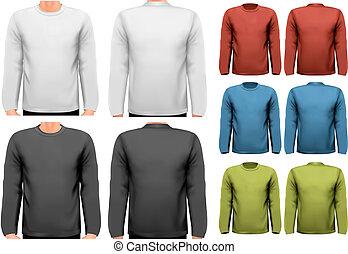 largo, sleeved, camisas, con, muestra, texto, space.,...