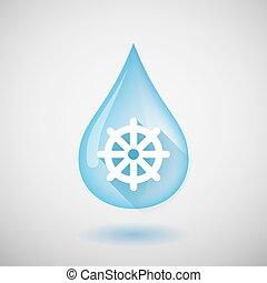 largo, sombra, gota agua, icono, con, un, chakra de dharma, señal