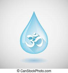 largo, sombra, gota agua, icono, con, un, om, señal