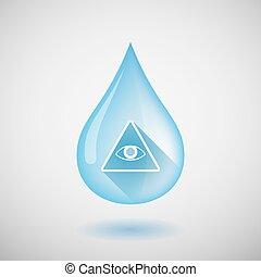 largo, sombra, gota agua, icono, con, un, todos, ver, ojo