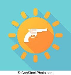 largo, sombra, sol, con, un, arma de fuego