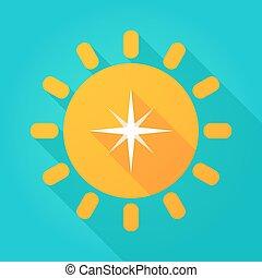 largo, sombra, sol, icono, con, un, estrella