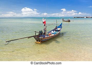 largo, tailandés, barco