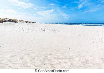 largo, verão, praia, e, dunas, em, slowinski, parque...