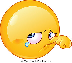 larme, emoticon, essuyer