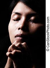 larmes, dans, prier