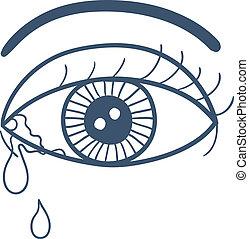 larmes, oeil, isolé, pleurer, white.