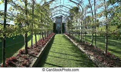 Larnach Castle gardens. - Dunedin, New Zealand. View through...