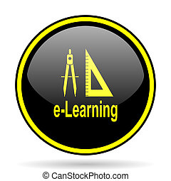 larning black and yellow glossy internet icon