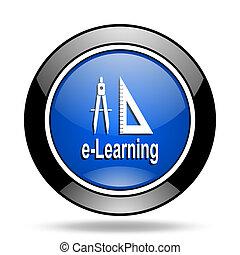 larning blue glossy icon