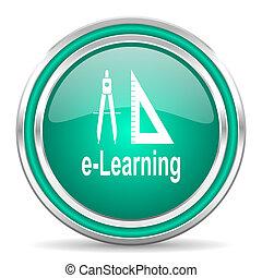 larning green glossy web icon