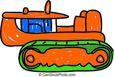 larvtraktor, bulldozer