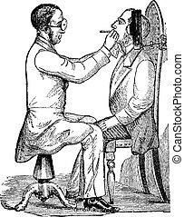 Laryngoscopy, vintage engraving