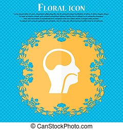 larynx, Medical Doctors Otolaryngology icon. Floral flat...