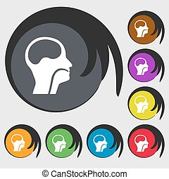 larynx, Medical Doctors Otolaryngology sign icon. Symbols on...