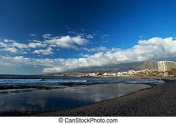 Las Americas Beach Adeje coast Beach in south Tenerife at Canary Islands
