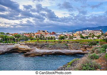 Las Americas beach with hotels in Tenerife, Spain