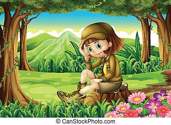 las, badacz, młody