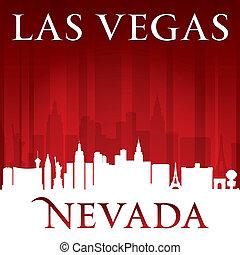 las, nevada, fondo, orizzonte, vegas, città, rosso, silhouette