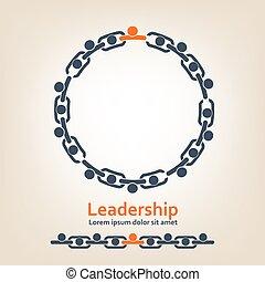 las personas presente, cadena, -, liderazgo