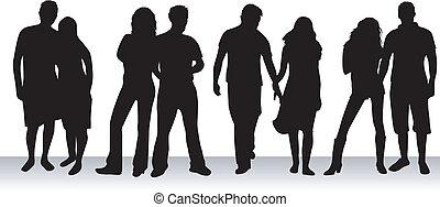 las personas presente, parejas