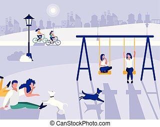 las personas presente, parque, con, patio de recreo, aislado, icono