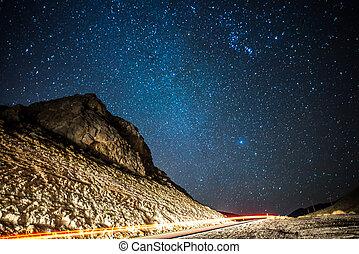 las, rouges, long, coucher soleil, coup, canyon, rocher, exposition, vegas