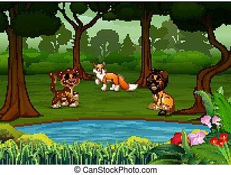 las, rysunek, zwierzęta, dużo, dziki