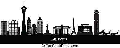 las vegad skyline with airport - las vegas airport with...