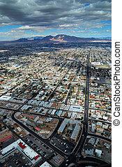 Las Vegas aerial view with mountain