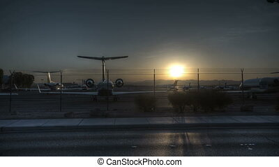 Las Vegas Airport Sunrise - Time lapse of airplanes at an...