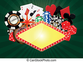 las vegas banner - illustration of blank banner with object...