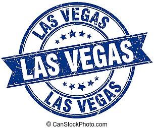Las Vegas blue round grunge vintage ribbon stamp