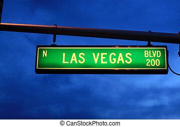 Las Vegas Blvd. sign at dusk, Las Vegas, Nevada, USA