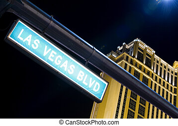 Las Vegas Boulevard street sign by night in Las Vegas...