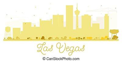 Las Vegas City skyline golden silhouette.