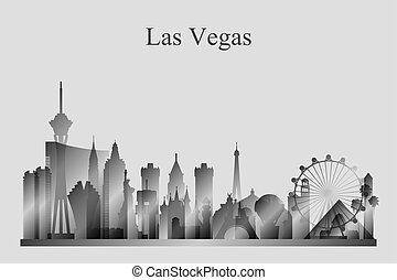 Las Vegas city skyline silhouette in grayscale, vector...