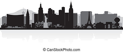 Las Vegas city skyline silhouette - Las Vegas USA city ...