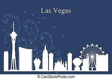 Las Vegas city skyline silhouette on blue background