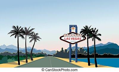 Las Vegas city skyline. Travel USA background