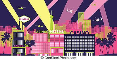 Las Vegas cityscape - Casino hotels in a city, Las Vegas,...